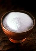 Ground Salt in a Wooden Bowl