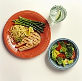 Grilled salmon with side dishes