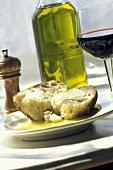 Rustic Italian Bread in Olive Oil with Pepper; Wine