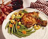A Stuffed Pork Chop with Green Beans