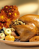 A Whole Stuffed Turkey with Fruit and Gourds