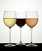 Three Types of Wine in Glasses