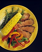 Sliced Steak with Grilled Bell Peppers and Corn on the Cob