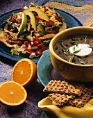 Two Mexican Dishes: Black Bean Soup and a Tostada