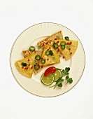 Cheese Quesadillas Topped with Jalapenos