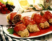 Stuffed Cabbage Leaves with Tomato Sauce