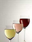 Three Glasses of Wine: White Red and Blush