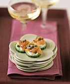 Cucumber hors d'oeuvres with Smoked Salmon and Capers