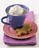 Hot Cocoa with Whipped Cream and Gingerbread Cookies