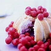 Raspberry Cream Filled Sponge Cake; Fresh Raspberries