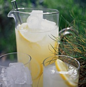 A Pitcher of Lemonade Outdoors