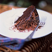 Slice of Chocolate Cake with Fudge Frosting and Whipped Cream