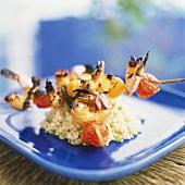 Grilled Shrimp and Vegetable Skewers over Barley