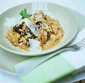 Risotto ai funghi (Mushroom risotto with Parmesan shavings)