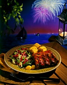 Barbecued Ribs with Salad and Corn; Fireworks