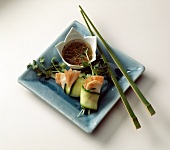 Lobster Rolled in Zucchini Slices with Sauce; Chopsticks