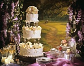 Three Tier Wedding Cake; Wine and Presents