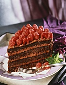 A Slice of Four Layer Chocolate Raspberry Cake