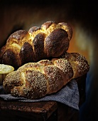 Braided Bread Loaves with Sesame Seeds