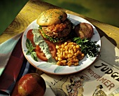 Barbecued Burger with Baked Beans
