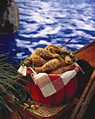 Basket of Fried Chicken on a Canoe