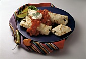 Burritos with Sour Cream and Hot Peppers