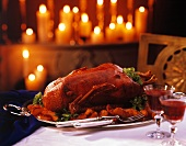 Roast Goose on Silver Platter by Candlelight