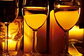 Three Glasses of White Wine by Candlelight