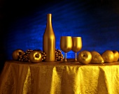 Stylized Table Setting with Fruit and Wine