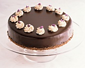 Chocolate Cake with Candied Violets on Cake Stand