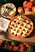 Peach Pie on a Wooden Table