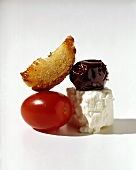 Garlic Bread and Black Olive; Feta and Plum Tomato