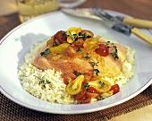 Salmon Over Couscous with Cherry Tomato Relish