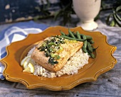 Baked Salmon with Sesame Seeds and Green Onion Over Rice