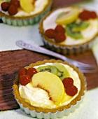 Raspberry, Peach and Kiwi Fruit Tart