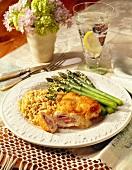 Chicken Cordon Bleu with Asparagus and Rice
