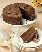 A Devil's Food Cake with Slice
