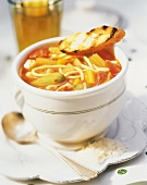 A Bowl of Minestrone Soup with Grilled Bread