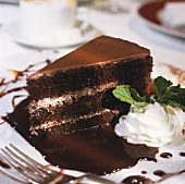 A Slice of Triple Layer Chocolate Cake
