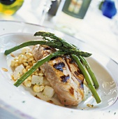 Grilled coley with Asparagus (USA)