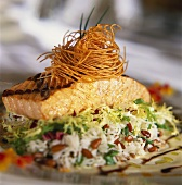 Grilled Salmon Fillet On a Bed of Rice with Fried Angel Hair