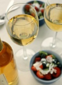 Glasses of Dessert Wine with Fruit Salad