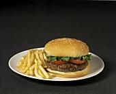 A Hamburger and Fries