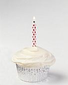 Vanilla Frosted Cupcake with One Lit Candle, Cupcake and Candles