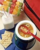 School Lunch: Alphabet Soup, Milk & Fruit