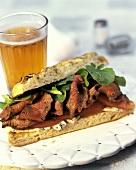 Roast Beef Sandwich with Beer