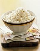 Coconut Rice on Wooden Block