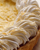 Piped Whipped Cream on Coconut Cream Pie