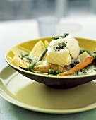 Halibut in whipped wine and vegetable sauce