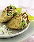 Bread filled with chicken salad
